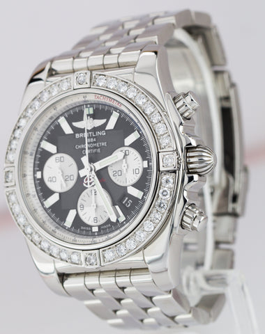 Breitling Chronomat 44 DIAMOND BEZEL Stainless Black 44mm Watch MB01 01 AB0110