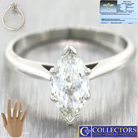 Vintage Estate Platinum .78ct Marquise Shape Cut Diamond Engagement Ring G8