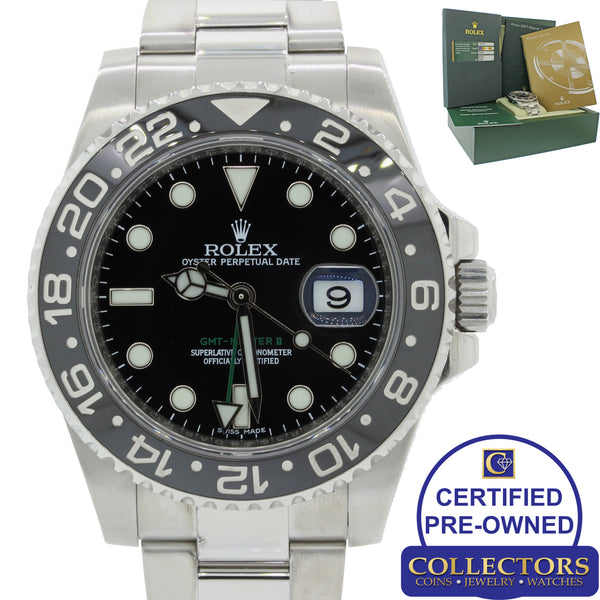 MINT Rolex GMT Master II 116710 Steel Ceramic Black Ceramic Watch BoxPapers S8