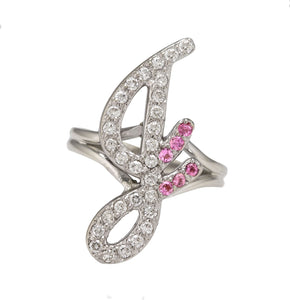 "Ladies Modern 14K White Gold 0.64ctw Diamond Pink Sapphire ""G"" Initial Ring"