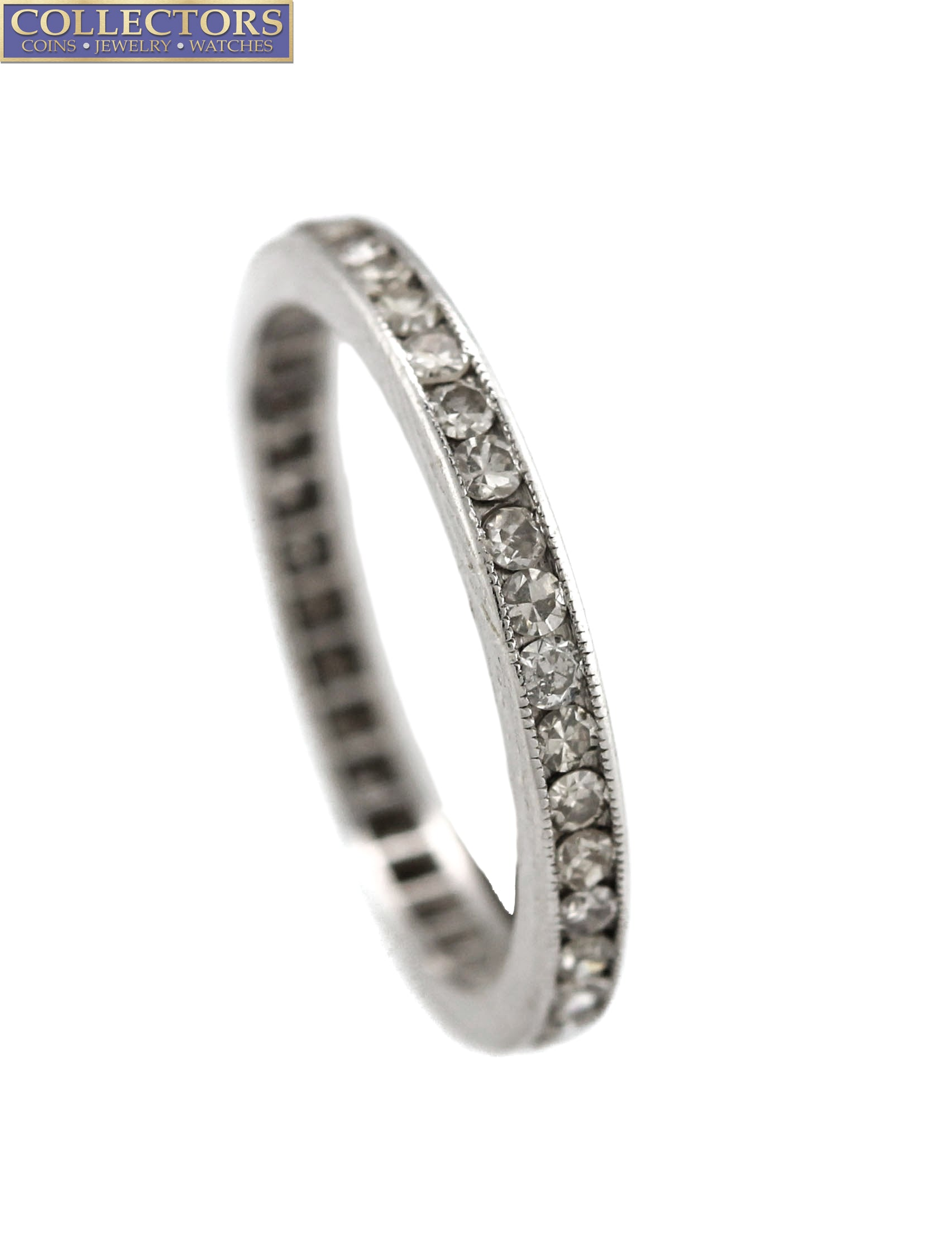 Ladies Estate 14K White Gold 0.76ctw Diamond Milgrain Eternity Wedding Band Ring