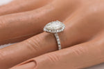 Ladies 14K White Gold 0.77 CT J-K SI2 Pear Brilliant Diamond Engagement Ring EGL