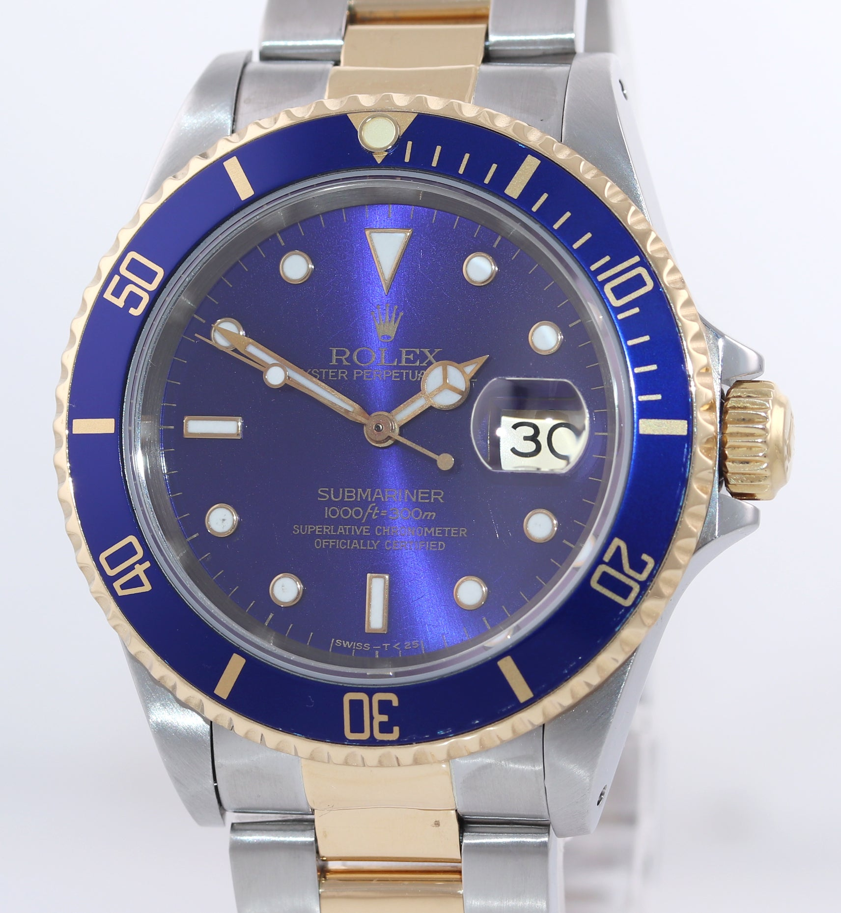 Rolex Submariner 16613 Two Tone 18k Yellow Gold Blue Sunburst Dial 40mm Watch