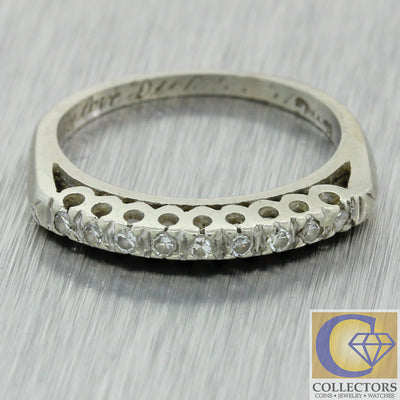1930s Antique Vintage Estate 14k White Gold .20ct Diamond 2mm Band Ring J8