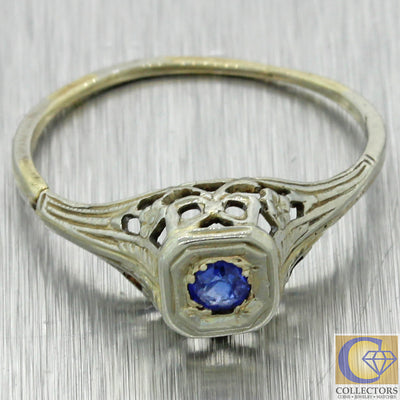 1930s Antique Art Deco Estate 14k White Gold Filigree .07ct Sapphire Engagement Ring