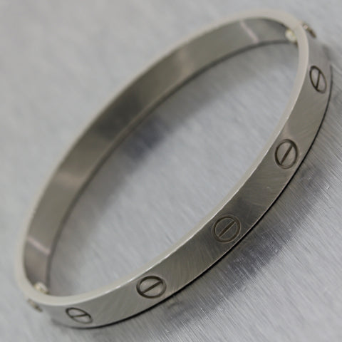 2003 Cartier 18k White Gold Old Style Screw Love Bangle Bracelet BP Size 17