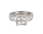 Womens 14K White Gold 1.60ctw Invisible Set Princess Cut Diamond Engagement Ring