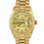 1973 Rolex Day-Date President Pie-Pan WIDE BOY 36mm 18K Yellow Gold Watch 1803
