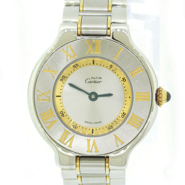 Ladies Must de Cartier 21 Steel Gold 28mm Quartz Silver Roman Dial Watch 1340