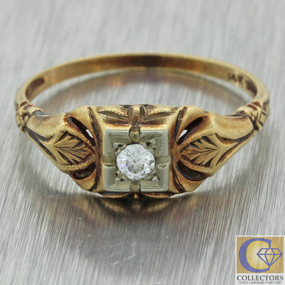 1930s Antique Art Deco Estate 14k Yellow Gold .10ct Diamond Hand Engraved Ring J8