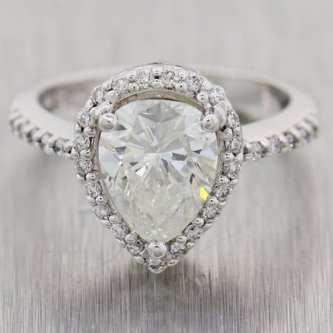 Pear Shape 2.01ct GIA Diamond 14k White Gold 2.51ctw Engagement Ring