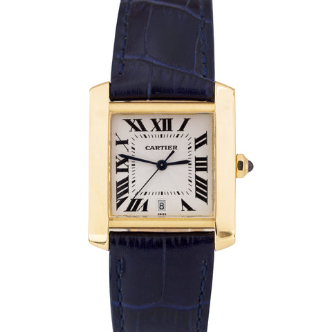 Cartier Tank Francaise W5000156 1840 18K Yellow Gold 28x32mm Automatic Watch