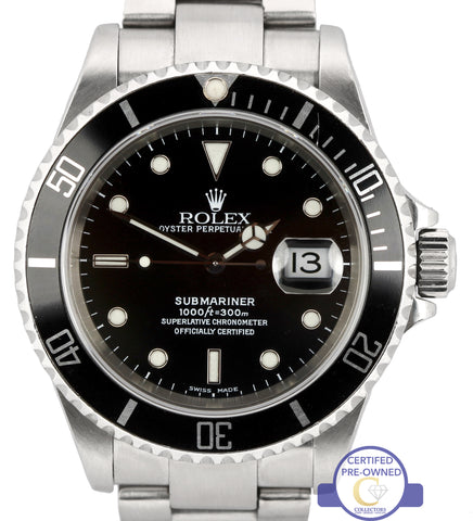 2002 Men's Rolex Submariner Date 16610 Stainless Steel Black Dive Watch SEL