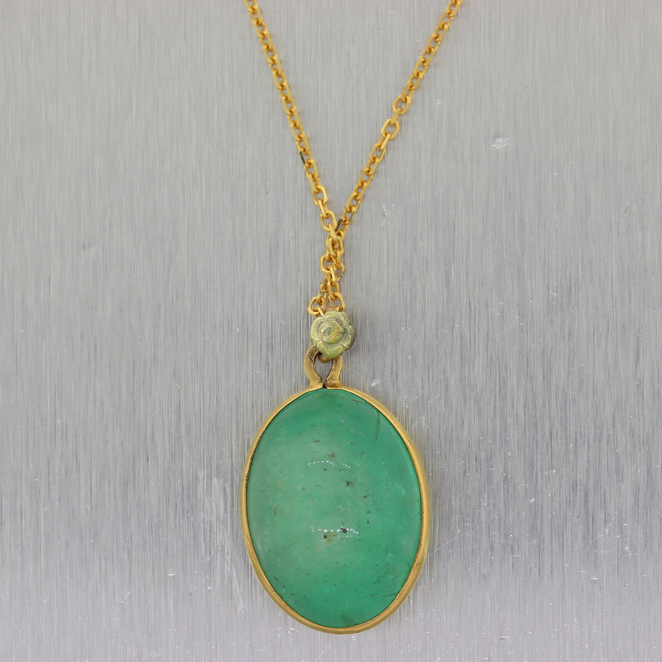 "Vintage Estate 14k Yellow Gold 42ct Natural Green Emerald 18"" Necklace"