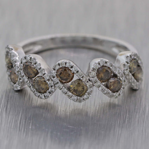 Ladies 14K White Gold .70ct Cognac Diamond 1.00ctw Stackable Band Ring