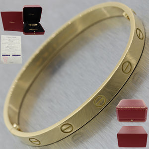 2019 Cartier 18k Yellow Gold New Style Screw Love Bangle Bracelet BP Size 17