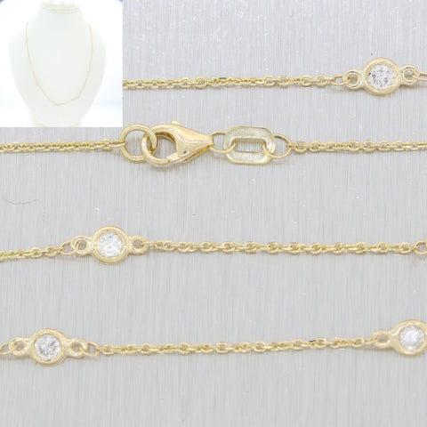 Vintage 14k Yellow Gold .60ctw Diamond By The Yard Cable Chain Link Necklace N8