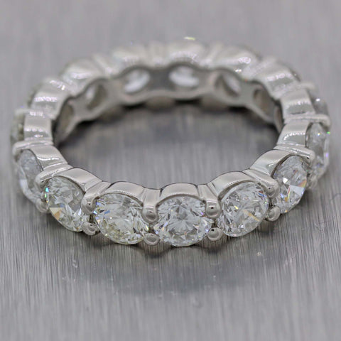 4.60ctw Round Cut Diamond 4mm Platinum Shared Prong Eternity Wedding Band Ring