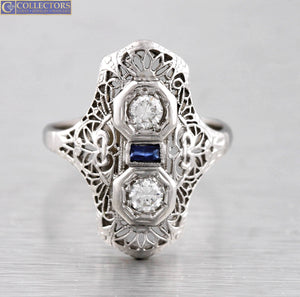 Ladies Antique Art Deco 14K White Gold 0.42ctw Diamond Sapphire Cocktail Ring