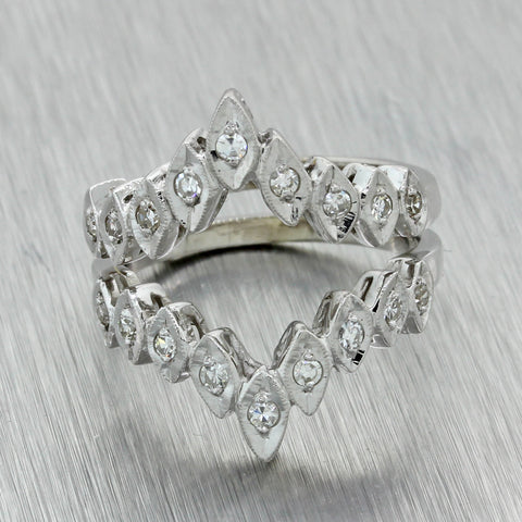 1930s Antique Art Deco 14k White Gold .40ct Diamond Insert Engagement Ring Guard