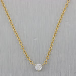 "Classic 14k Yellow Gold 0.14ct Diamond Solitaire 16"" Necklace"