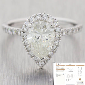 Pear Shape 1.72ct GIA Diamond 14k White Gold 1.12ctw Halo Engagement Ring