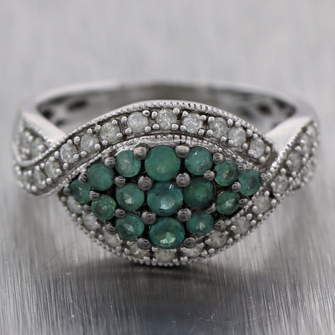 Vintage Estate 14k White Gold 1.20ctw Diamond & Emerald Ring