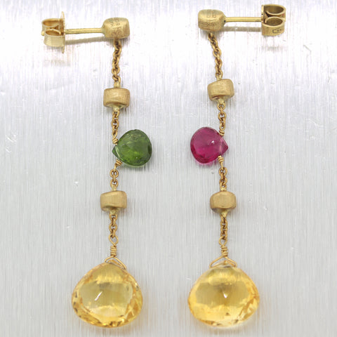 Vintage Estate Marco Bicego 18k Yellow Gold Multi-Stone Dangle Earrings