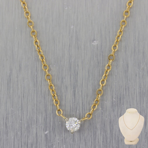 "Classic 14k Yellow Gold 0.20ct Diamond Solitaire 16"" Necklace"