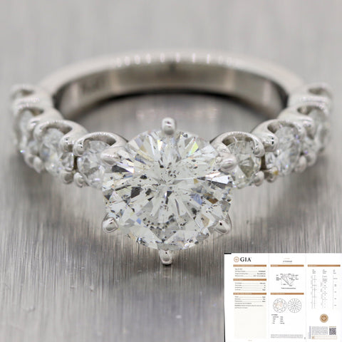Round Brilliant 2.86ct GIA Diamond Platinum 4.86ctw Engagement Ring