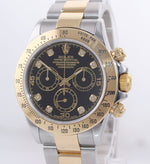 Rolex Daytona 116523 Black Diamond Dial Steel 18k Yellow Gold Two Tone Watch Box