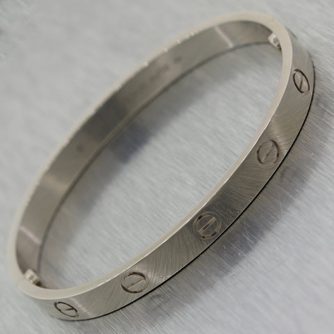 2016 Cartier 18k White Gold New Style Screw Love Bangle Bracelet BP Size 17