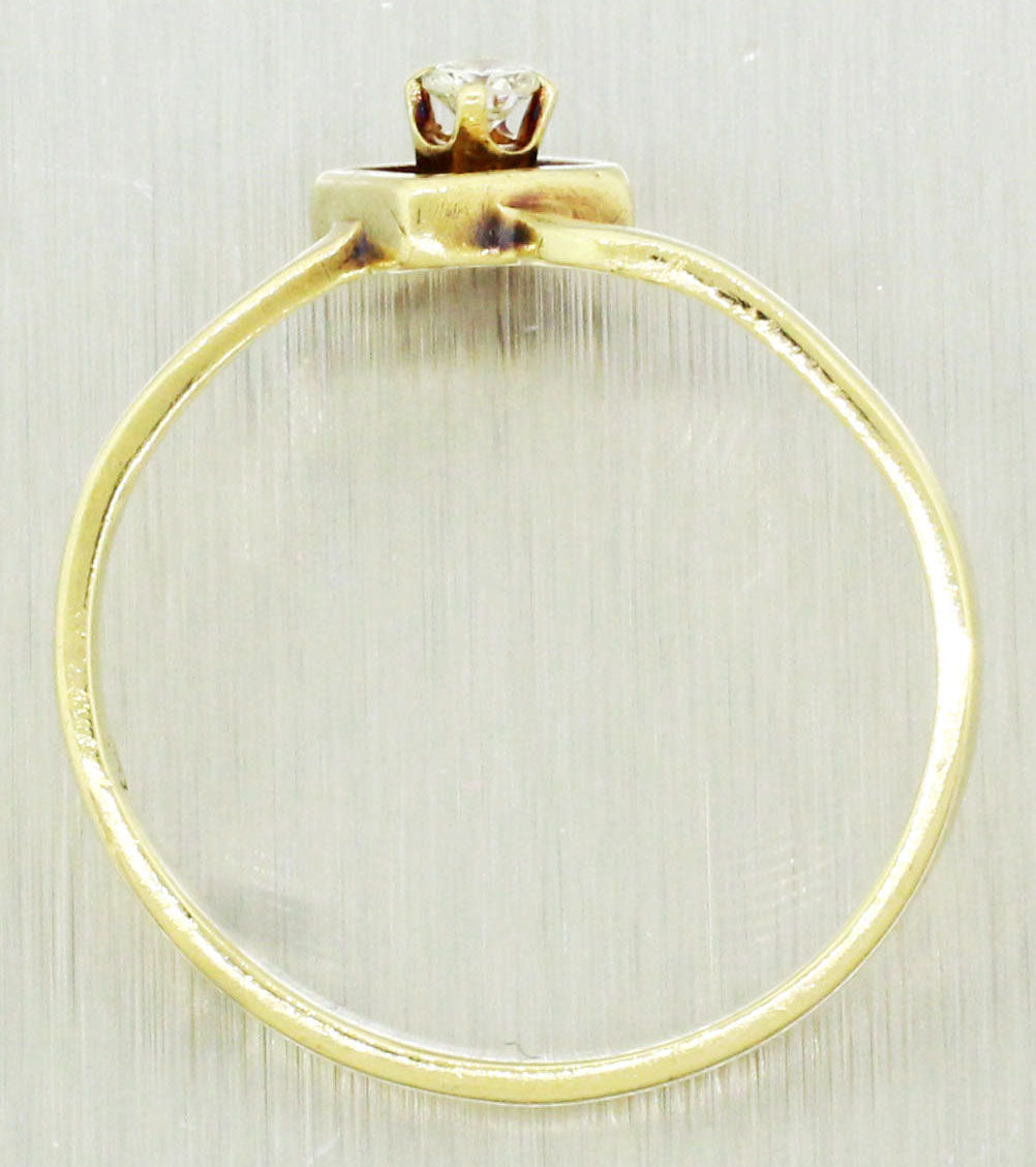 Vintage Estate 14k Solid Yellow Gold 0.10ctw~ Diamond Ring