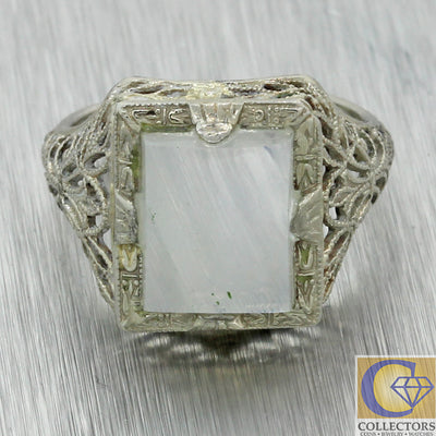 Vintage Estate Solid 14k White Gold Filigree Moonstone Cocktail Ring