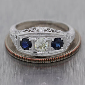 1930's Antique Art Deco 14k White Gold 0.73ctw Sapphire & Diamond Filigree Ring