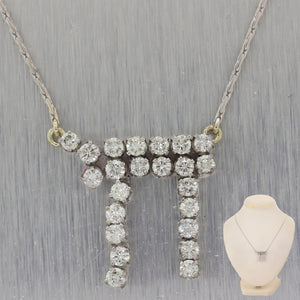 "Classic 14k White Gold Jewish Chai 2ctw Diamond 19"" Necklace"