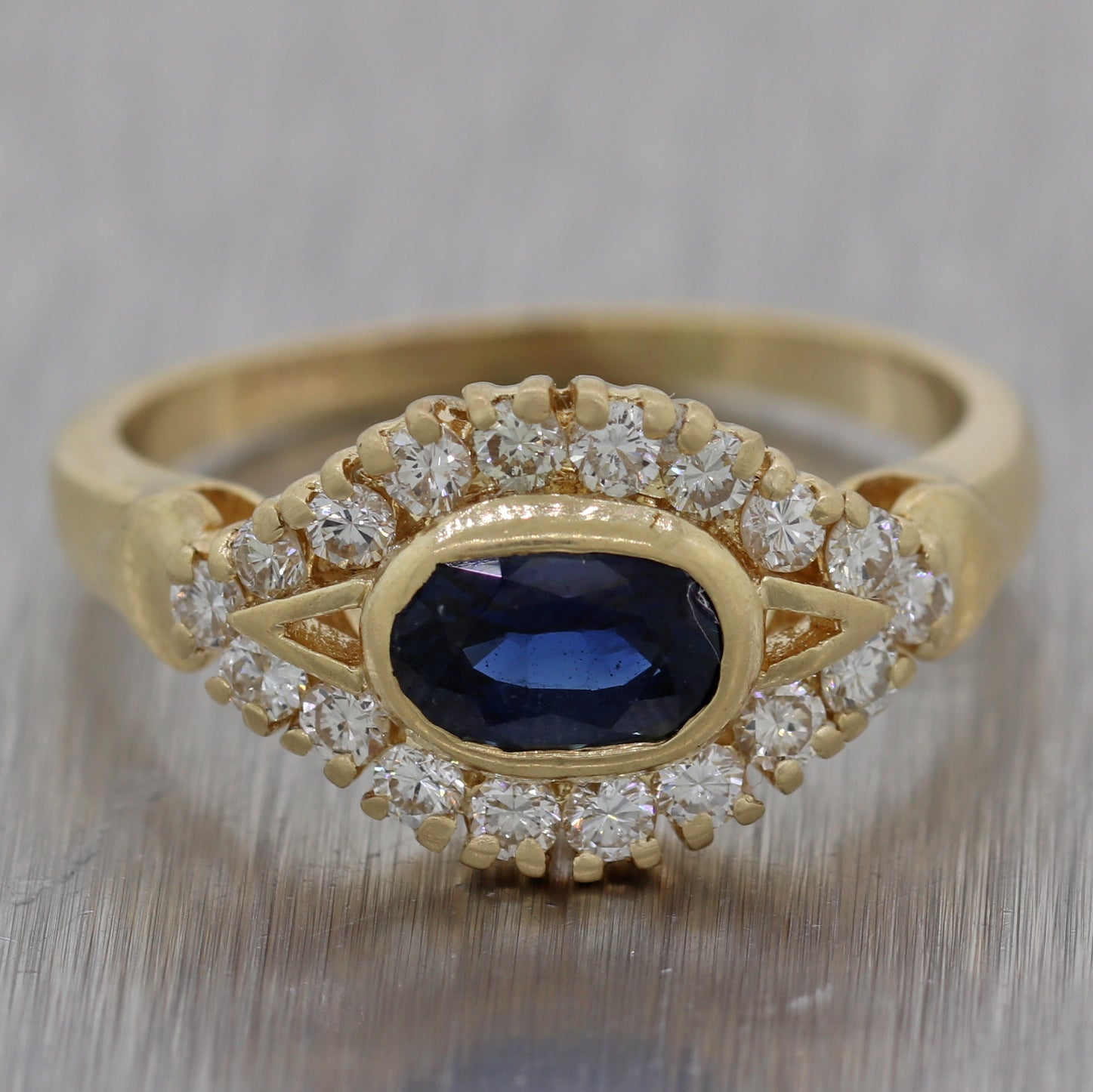 Vintage Estate 14k Yellow Gold 1ctw Sapphire & Diamond Ring