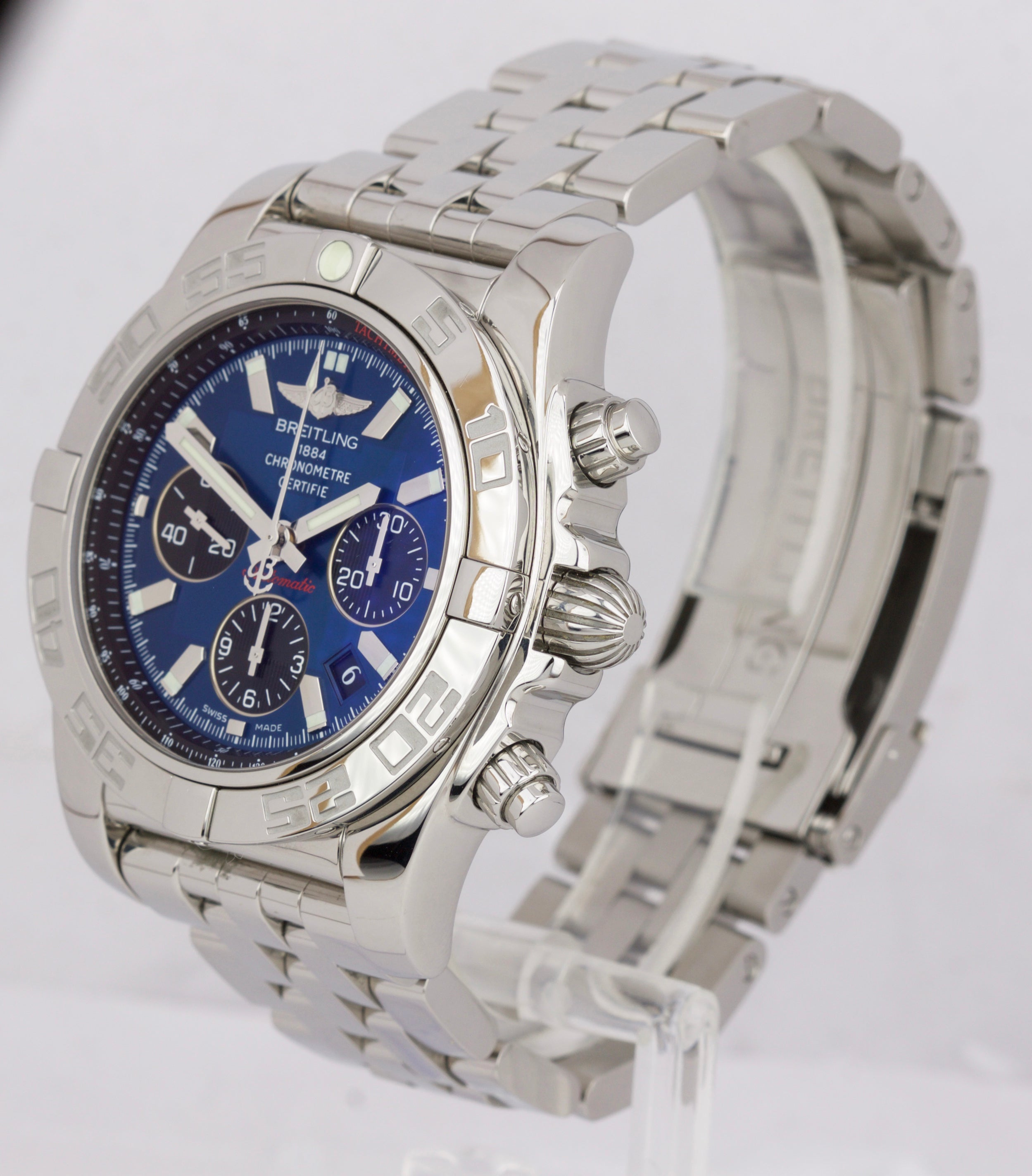 MINT Breitling Chronomat 44mm Stainless Steel Blue AB0110 Chronograph Watch