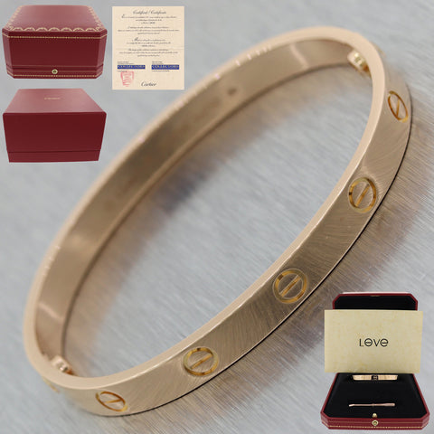 2013 Cartier 18k Rose Gold New Style Screw Love Bangle Bracelet BP Sz17