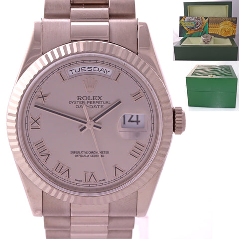 Rolex Modern Buckle Day-Date President 118239 White Gold Rhodium Roman Watch N8