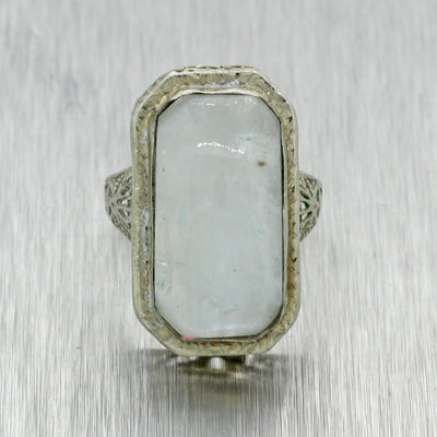 1930s Antique Art Deco Estate 14k White Gold Filigree Moonstone Cocktail Ring