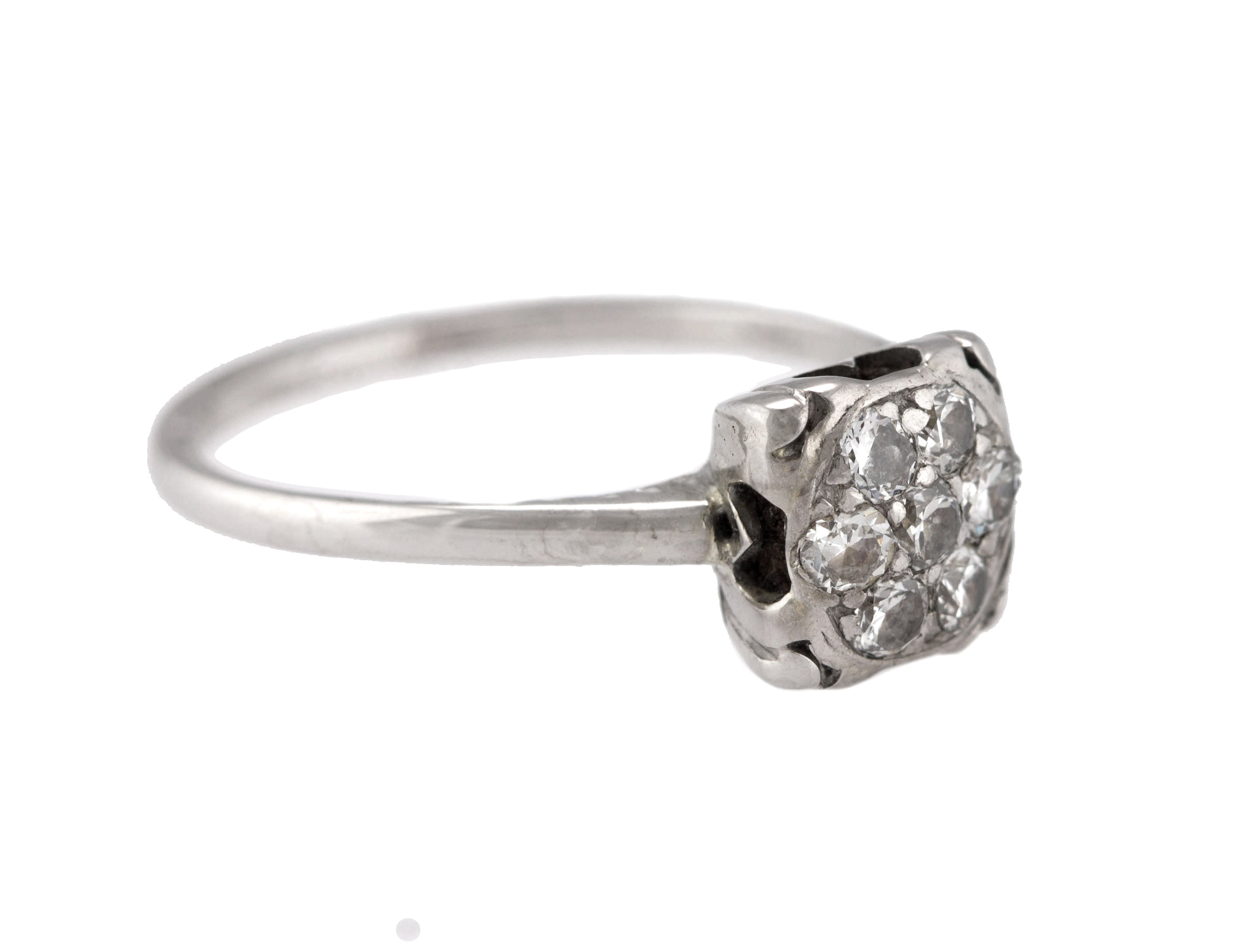 Ladies Vintage Antique 14K White Gold 0.35ctw Diamond Cluster Engagement Ring