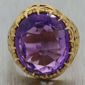 1890's Antique Victorian 18k Yellow Gold Amethyst Ring