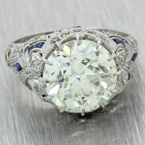 1920s Antique Art Deco Platinum 5.48ct Diamond Sapphire Engagement Ring J8