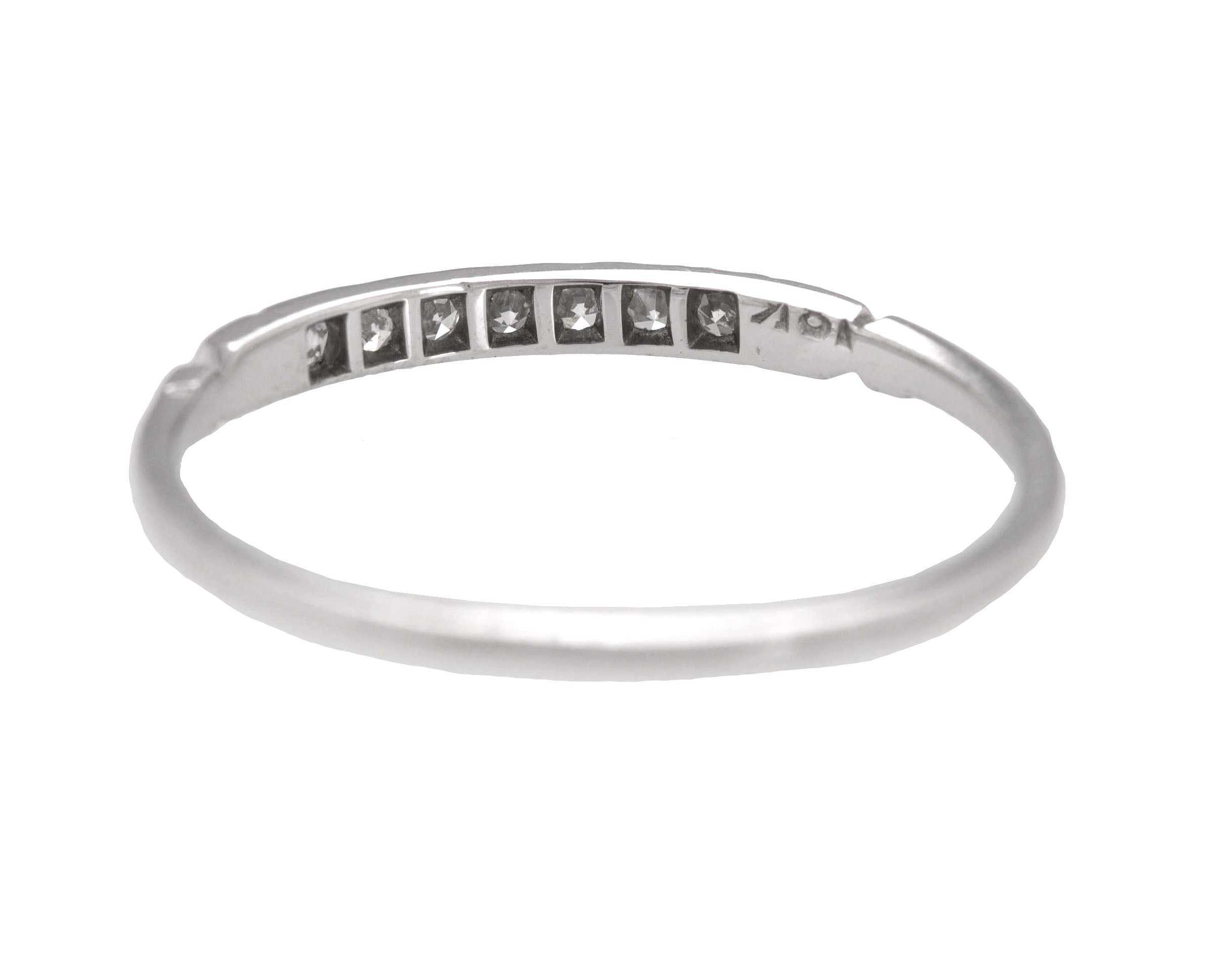 Ladies Vintage Estate 18K White Gold 0.14ctw Diamond 2mm Stackable Band Ring