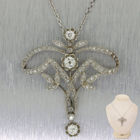 "1920's Antique Art Deco Platinum 2ctw Diamond Pendant 18"" Necklace"