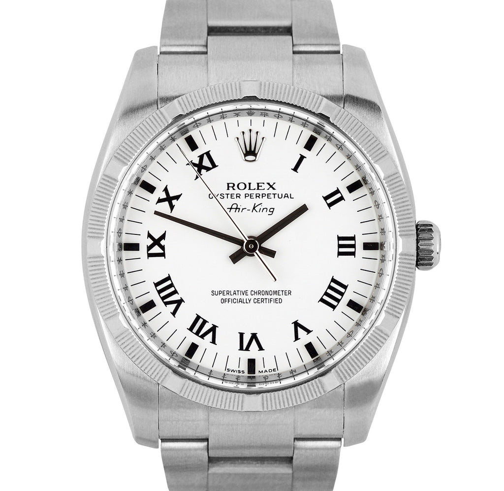 Mint Rolex Air-King Oyster Perpetual Steel White Roman 114210 34mm Watch