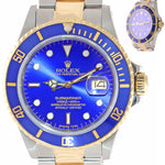 MINT Rolex Submariner Date 16803 Two-Tone Gold Stainless Blue 40mm Dive Watch
