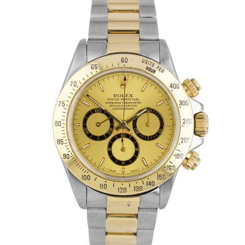 1996 Rolex Daytona Cosmograph Zenith 40mm Two-Tone Gold Champagne Watch 16523