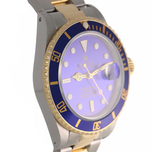 MINT Rolex Submariner Date 16803 Two-Tone Gold Stainless Blue 40mm Diver Watch